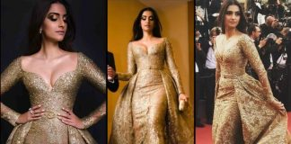 Sonam Kapoor in Golden Dress Up at Cannes Festival
