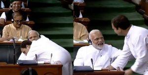 Rahul Gandhi embraced Modi in the House