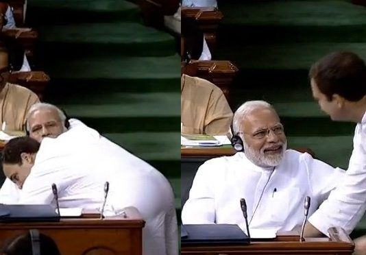 Rahul Gandhi embraced Modi in the House